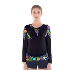 Prismatic Negative Space Comic Peace Hand Circles Women s Long Sleeve Tee