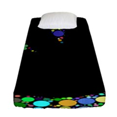 Prismatic Negative Space Comic Peace Hand Circles Fitted Sheet (Single Size)