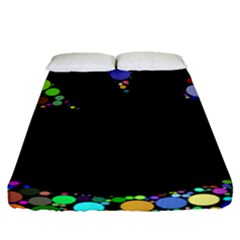 Prismatic Negative Space Comic Peace Hand Circles Fitted Sheet (Queen Size)