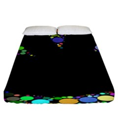 Prismatic Negative Space Comic Peace Hand Circles Fitted Sheet (King Size)