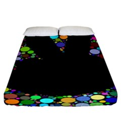 Prismatic Negative Space Comic Peace Hand Circles Fitted Sheet (California King Size)