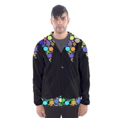 Prismatic Negative Space Comic Peace Hand Circles Hooded Wind Breaker (Men)