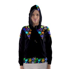 Prismatic Negative Space Comic Peace Hand Circles Hooded Wind Breaker (Women)