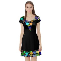 Prismatic Negative Space Comic Peace Hand Circles Short Sleeve Skater Dress