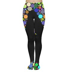 Prismatic Negative Space Comic Peace Hand Circles Women s Tights