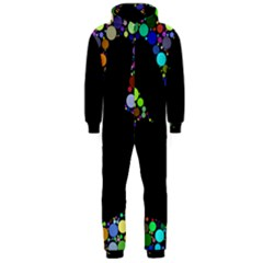 Prismatic Negative Space Comic Peace Hand Circles Hooded Jumpsuit (Men)