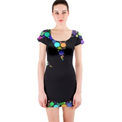 Prismatic Negative Space Comic Peace Hand Circles Short Sleeve Bodycon Dress