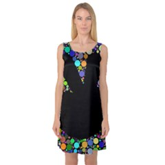 Prismatic Negative Space Comic Peace Hand Circles Sleeveless Satin Nightdress