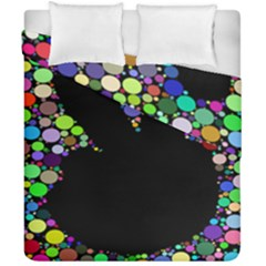 Prismatic Negative Space Comic Peace Hand Circles Duvet Cover Double Side (California King Size)