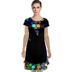 Prismatic Negative Space Comic Peace Hand Circles Cap Sleeve Nightdress