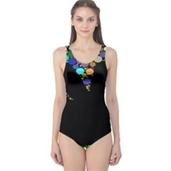 Prismatic Negative Space Comic Peace Hand Circles One Piece Swimsuit