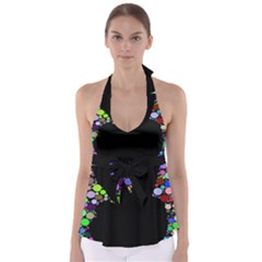 Prismatic Negative Space Comic Peace Hand Circles Babydoll Tankini Top