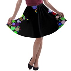 Prismatic Negative Space Comic Peace Hand Circles A-line Skater Skirt