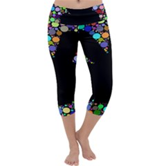Prismatic Negative Space Comic Peace Hand Circles Capri Yoga Leggings