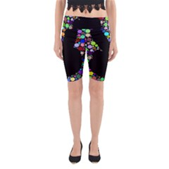 Prismatic Negative Space Comic Peace Hand Circles Yoga Cropped Leggings
