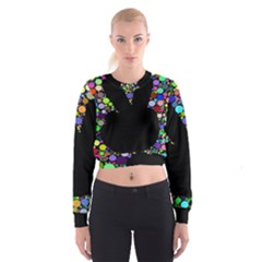 Prismatic Negative Space Comic Peace Hand Circles Women s Cropped Sweatshirt