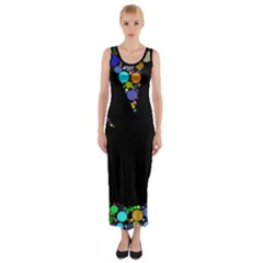 Prismatic Negative Space Comic Peace Hand Circles Fitted Maxi Dress