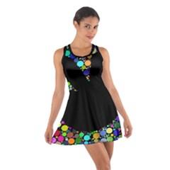 Prismatic Negative Space Comic Peace Hand Circles Cotton Racerback Dress