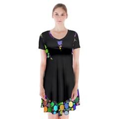 Prismatic Negative Space Comic Peace Hand Circles Short Sleeve V-neck Flare Dress