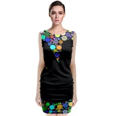 Prismatic Negative Space Comic Peace Hand Circles Classic Sleeveless Midi Dress
