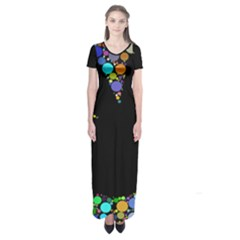 Prismatic Negative Space Comic Peace Hand Circles Short Sleeve Maxi Dress