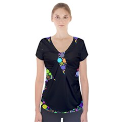 Prismatic Negative Space Comic Peace Hand Circles Short Sleeve Front Detail Top