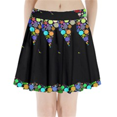 Prismatic Negative Space Comic Peace Hand Circles Pleated Mini Skirt