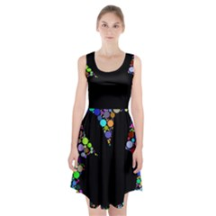 Prismatic Negative Space Comic Peace Hand Circles Racerback Midi Dress