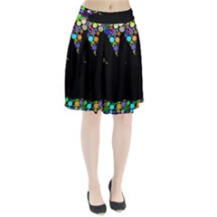 Prismatic Negative Space Comic Peace Hand Circles Pleated Skirt