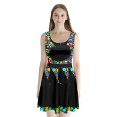 Prismatic Negative Space Comic Peace Hand Circles Split Back Mini Dress