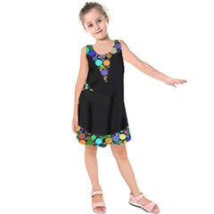 Prismatic Negative Space Comic Peace Hand Circles Kids  Sleeveless Dress