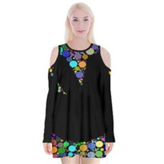 Prismatic Negative Space Comic Peace Hand Circles Velvet Long Sleeve Shoulder Cutout Dress