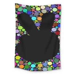 Prismatic Negative Space Comic Peace Hand Circles Large Tapestry