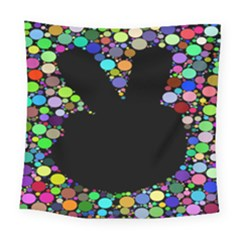Prismatic Negative Space Comic Peace Hand Circles Square Tapestry (large)