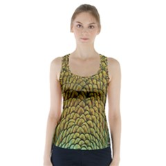 Peacock Bird Feather Color Racer Back Sports Top