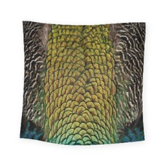 Peacock Bird Feather Color Square Tapestry (small)