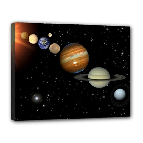 Outer Space Planets Solar System Canvas 14  X 11