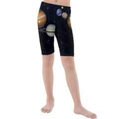 Outer Space Planets Solar System Kids  Mid Length Swim Shorts
