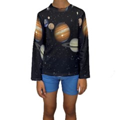 Outer Space Planets Solar System Kids  Long Sleeve Swimwear