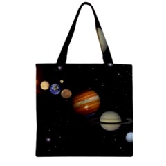 Outer Space Planets Solar System Zipper Grocery Tote Bag