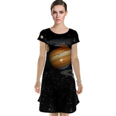 Outer Space Planets Solar System Cap Sleeve Nightdress
