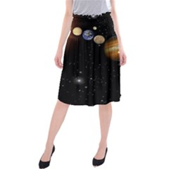 Outer Space Planets Solar System Midi Beach Skirt