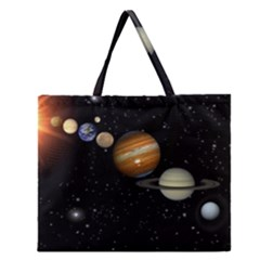 Outer Space Planets Solar System Zipper Large Tote Bag