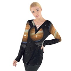 Outer Space Planets Solar System Women s Tie Up Tee