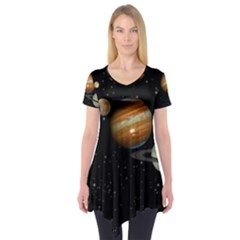 Outer Space Planets Solar System Short Sleeve Tunic