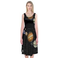 Outer Space Planets Solar System Midi Sleeveless Dress