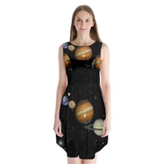 Outer Space Planets Solar System Sleeveless Chiffon Dress