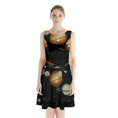 Outer Space Planets Solar System Sleeveless Chiffon Waist Tie Dress