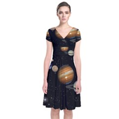Outer Space Planets Solar System Short Sleeve Front Wrap Dress