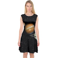 Outer Space Planets Solar System Capsleeve Midi Dress